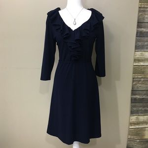 Lauren Ralph LAUREN Blue Dress VNeck 3/4 sleeves